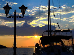 Moored Boats & Sunset - Sivota Greece (Canon EOS 7D & 35mm F2 Prime Lens) (markdbaynham) Tags: sunset sea sky cloud colour 35mm canon boats greek eos view harbour scenic hellas greece grecia 7d f2 sivota 2010 hellenic