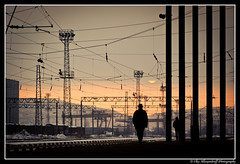 Perfect Strangers (EXPLORE #10) (Ilko Allexandroff / ) Tags: man lines station sunrise bulgaria vratsa    alobe