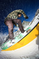 fs.bslide (bass_nroll) Tags: park blue sky snow canon fun board flash rail slide fisheye saturation neve snowboard mauri rough achille fs cervinia kink xplosion 450d fsbslide
