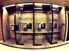 Phone Cells (CoolMcFlash) Tags: vienna wien urban ex public station canon booth underground subway eos austria sterreich call phone box empty leer telephone sigma wideangle fisheye ubahn telefon cells telefonzelle telefonieren softtones 10mm weitwinkel fav10 fischauge ffentlich 60d gettysalq4