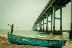 Sail to Infinity - Rameshwaram, India (Kartik Kumar S) Tags: bridge sea india seascape beach canon evening boat kid waves child shore tamilnadu rameshwaram pamban 600d