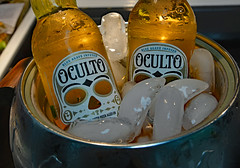 Oculto Cold! (BKHagar *Kim*) Tags: light cold ice beer skull golden bottle drink group aged infused oculto summery blueagave bkhagar tequilabarrelstaves nothoppy
