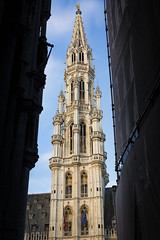 Project 366 - 126/366: Framed tower (sdejongh) Tags: street city brussels sky urban detail building tower stone architecture contrast standing project town hall frame arrow sharpness 366 126366