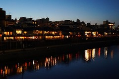 Pontocho district from Kamo River (raditheo.kevin) Tags: japan night river kyoto pontocho
