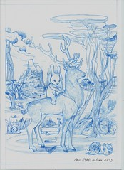 MC1984 ALEISTER 236 (mc1984) Tags: blue trees rabbit nature flickr drawing paysage lapin cerf mc1984 posthuman
