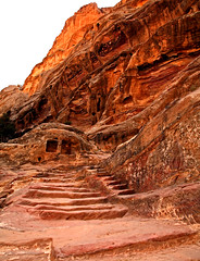 Path to the Monastery 28 (David OMalley) Tags: world city heritage rose rock stone site desert path petra siq carving unesco east jordan monastery arab middle carvings jordanian monumental jebel nabatean nabateans hewn maan almadhbah