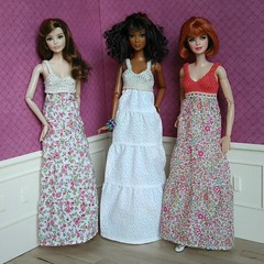 Long floral dresses (Karine'S HCF (Handmade Clothing & Furniture)) Tags: pink party summer scale floral ginger spring knitting long dress tea handmade barbie rosa short 16 kayla handknitted escala raquelle