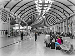 Newcastle Central station... (ocean rain) Tags: newcastlecentralstation newcastleupontyne selectivecolour pointshoot picmonkey nikon gimp