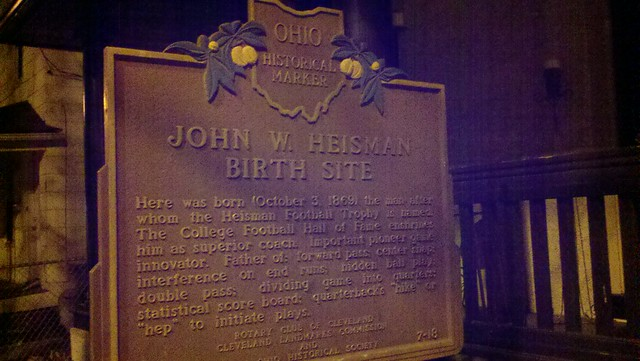 HEISMAN birthplace at night