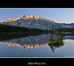 Mt Rundle (pDOTeter) Tags: canada reflection sunrise jack nikon alberta banff hdr rundle banffnationalpark firstlight mtrundle goldenlight d90 banffnp photomatix twojacklake tonemapped nikond90 oloneo