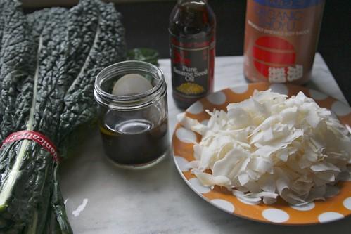 kale salad w/coconut & sesame oil