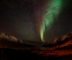 Northern Lights in Ersfjordbotn (John A.Hemmingsen) Tags: longexposure sky nature colors night landscape norge nikon nordnorge northernlights auroraborealis troms troms nordlys ersfjordbotn nikkor1685dx nikond7000