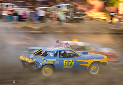Speed! - [EXPLORED] (andreaskoeberl) Tags: california blue usa motion blur car yellow speed movement sand nikon colorful unitedstates zoom crash stock fair flags dirt napa panning stockcar nikon85mmf18 d7000 nikond7000 andreaskoeberl
