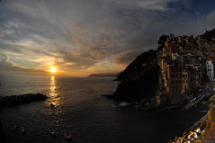 Riomaggiore at sunset (webeagle12) Tags: ocean park sunset sea vacation italy orange house fish eye bay coast boat nikon europe riviera italia village dusk 10 liguria cliffs fisheye national tiny terre mm nikkor cinque riomaggiore ligurian d90 thefivelands