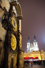 Old Town Square (JebbiePix) Tags: people clock golden prague dusk prag praha landmark christmasmarket czechrepublic historical oldtownsquare tynchurch tyn astronomicalclock