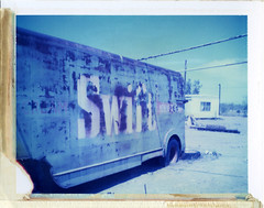 Bouse, AZ (moominsean) Tags: blue arizona abandoned truck polaroid rust desert swift 190 bouse type108 expired012000