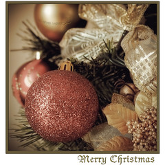 Merry Christmas 2011 (in eva vae) Tags: christmas decorations red stilllife macro tree green texture canon vintage gold eva niceshot framed postcard christmasballs feliznatal wishes layer merrychristmas abete natale greeting bows squared textured auguri christmascard oro lightroom decorazioni feliznavidad buonna
