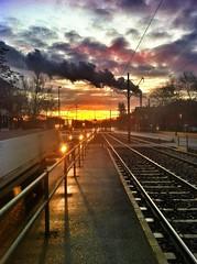 The sun rises ... (Oliver Wilke) Tags: sky berlin cars clouds sunrise germany deutschland traffic tracks himmel wolken tram autos sonnenaufgang verkehr gleise schienen rummelsburg strasenbahn