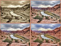 semi warholized Colorado (rovingmagpie) Tags: clouds utah coloradoriver moab redrock moabrim moabrimtrail warholized kanecreekroad thanksgiving2011