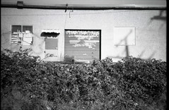 abandoned bay (Beaulawrence) Tags: door camera november winter shadow urban panorama white canada black building fall abandoned film overgrown monochrome vancouver analog train 35mm graffiti bay lomography dock garbage bush weeds weed december bc blackberry pentax decay garage tag grain mini columbia panoramic scan automatic plus hp5 british 135 pocket ilford compact loading 2011 espio sooc