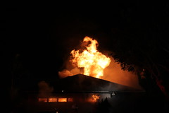 VCFD battles a working fire in Simi Valley (crashdummytester) Tags: county family roof light house france bar fire la explosion working police scene structure led story american single vehicle through department ventura fully lafrance involved dwelling vcfd