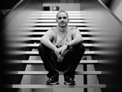 on a stairway... (don_philippe) Tags: portrait 120 mamiya film analog mediumformat 645 flash steps super stairway treppe human flashlight blitz strobe stufen mensch elinchrom blitzlicht mittelformat adox pocketwizard chs25