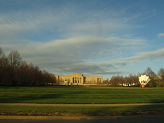 December 9, 2011 (the brilliant magpie) Tags: winter light sky tree green art museum clouds warm afternoon lawn nelson kansascity atkins shuttlecock