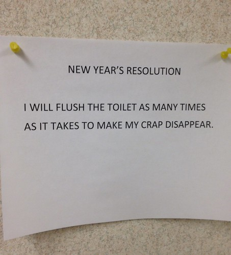New Year's Resolution: I WILL FLUSH THE TOILET AS MANY TIMES AS IT TAKES TO MAKE MY CRAP DISAPPEAR.