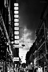Go town (Kemikal`girl) Tags: christmas bw italy rome lights europe neon cities metropolis roads perfumeria