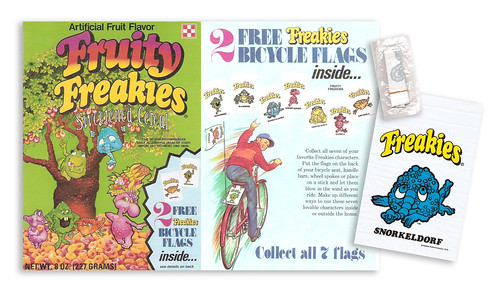 1975 Ralston Fruity Freakies Cereal Box Premium Bike Flags