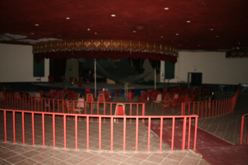 Blurry photo of the stage and seating area