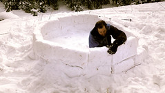 Jon shows off his masonry skills while building our igloo Photo