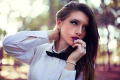 Audrey H (Rob Radius Photography) Tags: park pink white black shirt female orlando model florida bokeh bowtie skirt audrey lipstick hunsicker