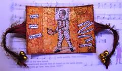 'Alas Poor Yorick' - Triptych ATC for Art 'n' Soul swap (Sherry .) Tags: orange bells gold mixedmedia shakespeare yorick hamlet sariribbon