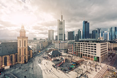Sun Over Frankfurt (Philipp Klinger Photography) Tags: light shadow sky urban cloud sun sunlight church lines shop skyline architecture clouds skyscraper canon shopping germany deutschland am europe exposure european shadows hessen frankfurt main central bank line highrise deutschebank sonne dri canon1740mmf4lusm hdr banks frankfurtammain zeil commerzbank hauptwache blending hesse ezb canon1740mmf4 europeancentralbank europischezentralbank zentralbank exposureblending 1740mml europische canon1740mm canoneos5dmarkii 5dmkii