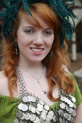 The Beautiful Lauren (wyojones) Tags: woman usa cute lauren green girl beautiful beauty smile look festival hair necklace pretty texas teeth feathers longhair curls dancer trf redhead greeneyes faire redlips freckles shoulders lovely fest redhair renaissance renfest chainmail wench paleskin texasrenaissancefestival toddmission wyojones