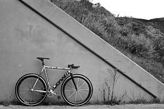 low love (Terry Barentsen) Tags: california beach bike san francisco track kodak low bra gear 400tx contax rodeo fixed g2 2011