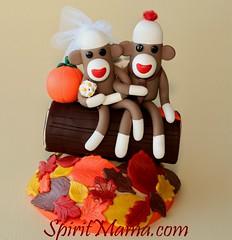 Autumn log sock monkey wedding cake topper (SpiritMama) Tags: wood autumn wedding silly cute fall colors leaves pumpkin groom bride leaf log humorous heart character sockmonkey caketopper whimsical