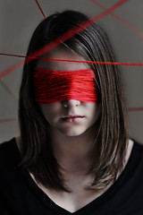 New Perspective (Lou Bert) Tags: new red portrait black art wool girl face self eyes paint mask perspective line string