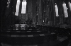 (m ▼) Tags: vienna urban bw film church analog religious austria blurry cathedral fisheye negative scanned doom plus zenit noise expired russian et ilford fp4 125 ststephen lowfidelity autaut mountfog