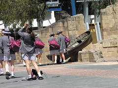School excursion (Roving I) Tags: australia melbourne uniforms publicart fountains schoolgirls rowboats sunhats schooloutings