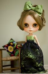 something for amelia (JennWrenn) Tags: travelling green evening outfit doll dress handmade silk blythe amelia hairclip gbabycustom