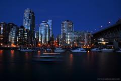 False Creek at dusk (Zorro1968) Tags: skyline vancouver marina boats dusk falsecreek bluehour