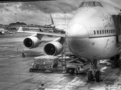 HDR : SAUDI ARABIAN AIRLINES (HafizAsaree) Tags: blackandwhite bw blackwhite airplanes jet airline planes saudi arabian hdr commercialairline 4engines hdraward