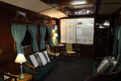 Shongololo Express - smoking lounge (when train is moving) with daily notices