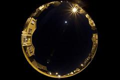 My Block (Firefighter Photo Junky) Tags: street houses light sky moon house lens stars lights star wide orb 180 round flare fullframesensor canon5dmarkii canon815mmf4fisheye circlebubble