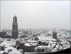 Zuidelijke Binnenstad, stadhuisbrug, Dom, Buurkerk--P1120786 (El Krommo 3) Tags: utrecht sneeuw 2012 februari gemeenteutrecht politiehelicopter vanafneudeflat elkrommo
