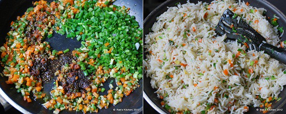 2-add pepper spring onion,mix rice