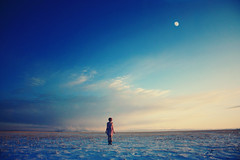The distance between stars. (-Fearless-) Tags: blue shadow portrait sky moon selfportrait snow girl clouds self giant snowy full fields endless brushed darkening daymoon snowyfield prarier