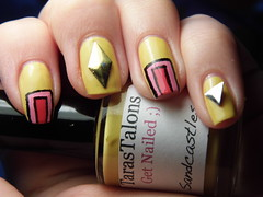 Studs and Squares (Life in Lacquer) Tags: pink art yellow square triangle polish diamond nails pens studs nailart varnish lacquer barrym notd getnailed nailartpens tarastalons